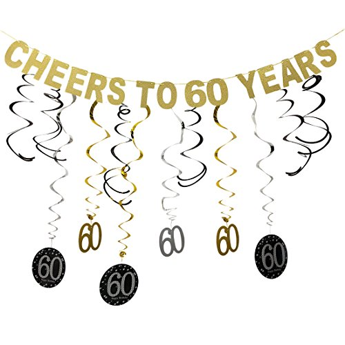 Gold Glittery Cheers to 60 Years Birthday Banner Decoration and 60 Hanging Swirls for 60th Birthday Party Decoration -