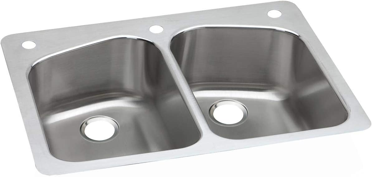 Dayton DPXSR233221 Equal Double Bowl Dual Mount Stainless Steel Sink