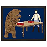 Beer Pong poster Lumberjack and Bear Art College Poster Funny Gift for Boyfriend