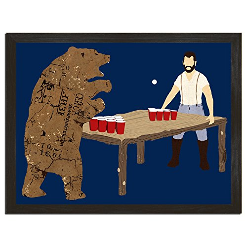 Beer Pong poster Lumberjack and Bear Art College Funny Gift for Boyfriend