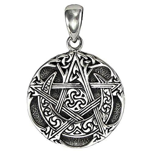 (Dryad Design Sterling Silver Small Moon Pentacle Pentagram)