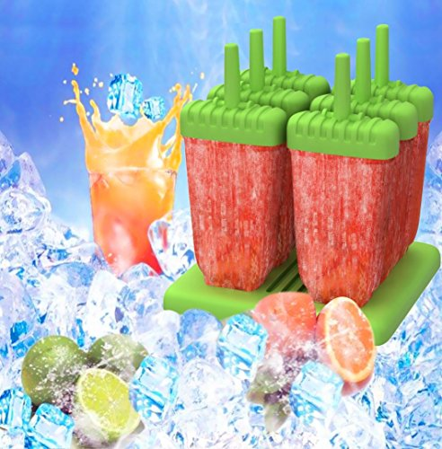 BPA free and FDA approved 24 months Warranty Set of 2 green and blue HelpAccess Germany HelpCuisine ice lolly moulds//6 Cell Set Pop Ice Mold Maker Lolly Jelly Mould Bar Tray Ice Cream Kitchen Tool