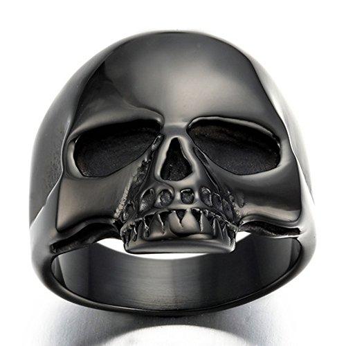 HAMANY Jewelry Punk Rock Men's Stainless Steel Skull Biker Ring,Black,Size 9