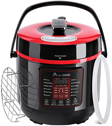 Aobosi Pressure Cooker 6Qt 8-in-1 Electric Multi-cooker,Rice Cooker,Slow Cooker,Sauté,Yogurt Maker,Steamer|6 Pressure Levels|Safe Release Button|Free Cooking Rack,Cookbook,Sealing Ring,Stainless Steel by AAOBOSI