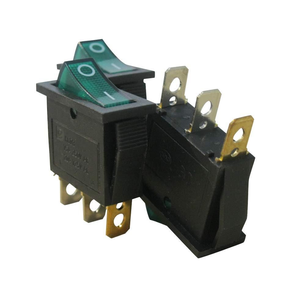 Taiss // 8Pcs AC 250V // 15A 125V // 20A Gr/ünes Licht beleuchtet EIN//AUS SPST 3Pin 2 Position Mini Boot Wippschalter Auto Auto Boot Wippschalter Druckknopf KCD3-101N-G Quality Assurance for 1 Years
