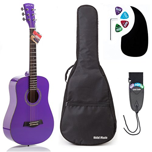(Acoustic Guitar Bundle Junior (Travel) Series by Hola! Music with D'Addario EXP16 Steel Strings, Padded Gig Bag, Guitar Strap and Picks, 3/4 Size 36 Inch (Model HG-36PP), Glossy Purple)