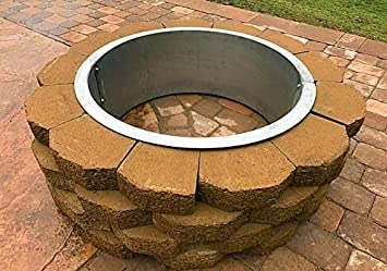 stainless steel fire pit ring liner with top flange lip - Fire Pit Ring