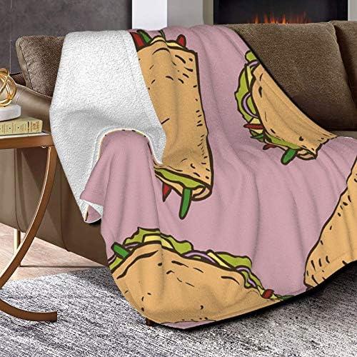 Couverture polaire à motif sans couture avec taco mexicain à Koshelev - Couverture polaire ultra douce et moelleuse - Pour canapé, lit et salon - 127 x 101,6 cm