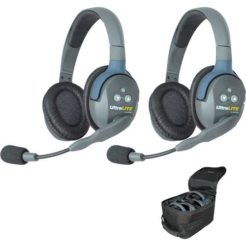 Eartec UL2D UltraLITE Full Duplex Wireless Intercom 2 Way Communication System for 2 Users - 1 ULDM Dual-Ear Master Headset and 1 ULDR Dual Ear Remote Headset from EARTEC