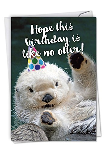 Otterly Awesome - Adorable Happy Birthday Card with Envelope (4.63 x 6.75 Inch) - Funny Animal Congrats Note Card for Birthdays - Adorable White Sea Otter in Party Hat C6574CBDG