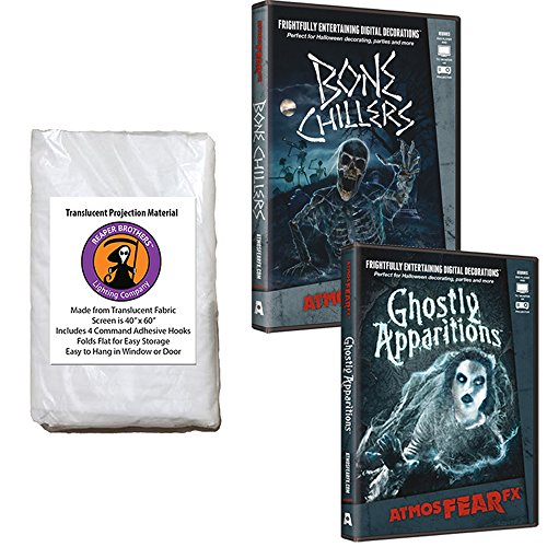 AtmosFear FX Ghostly Apparitions & Bone Chillers DVD Plus Reaper Brothers® High Resolution Rear Projection Screen for Virtual Halloween Window Projection Movies -