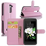 LG K7 Case, LG Tribute 5 Case, Fettion Premium PU Leather Wallet Phone Cases Flip Cover with Stand Card Holder for LG K7, LG Tribute 5 Smartphone (Wallet - Pink)