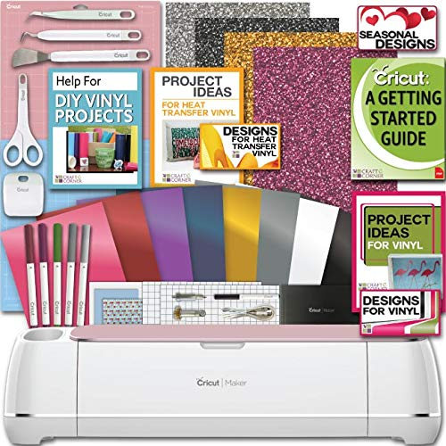 Cricut Maker Machine Bundle 1 Beginner Cricut Guide Smooth Heat Transfer Permanent Vinyl Tools Designs, Colors may Vary