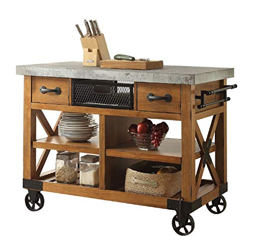al Style Distressed Antique Oak Finish Dining Storage Kitchen Island Cart with Caster Wheels, 9098182 ()