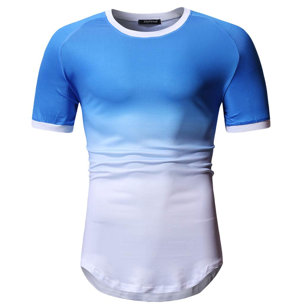 Sruiluo Men's Blouse Summer Fashion Patchwork Short Sleeved T-Shirt Top Blouse Blue