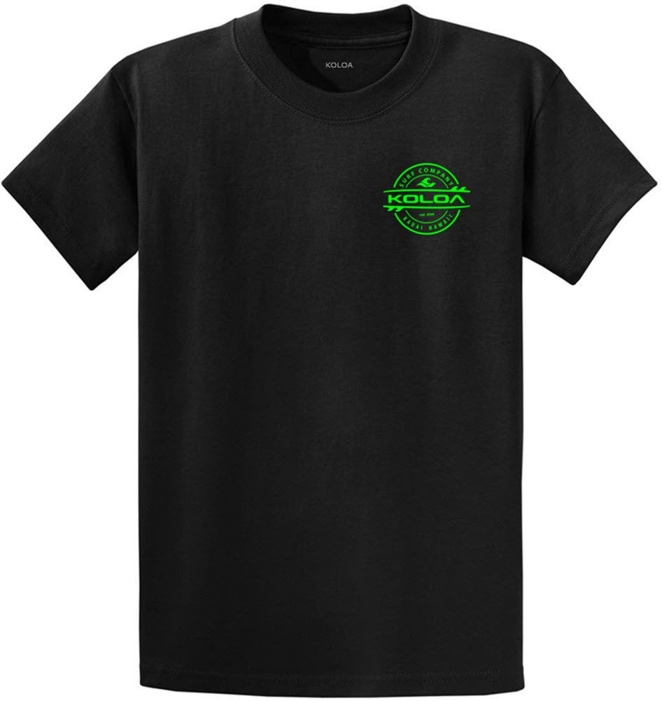 Joe's USA Koloa Surf 2-Sided Thruster Logo Heavy Cotton T-Shirt-Black/Green-S