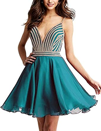 Miss Chics Women Homecoming Dresses Short Prom Dresses Beaded Chiffon V-neck 2017