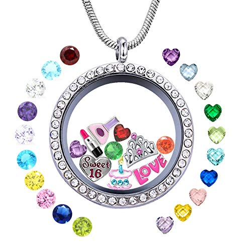 JOLIN Sweet Sixteen 16th Birthday Gift Girls, 30mm Round Floating Living Memory Locket Pendant Necklace 5Pcs Charms & 24Pcs Birthstones Niece Daughter Cousin Friend Sister