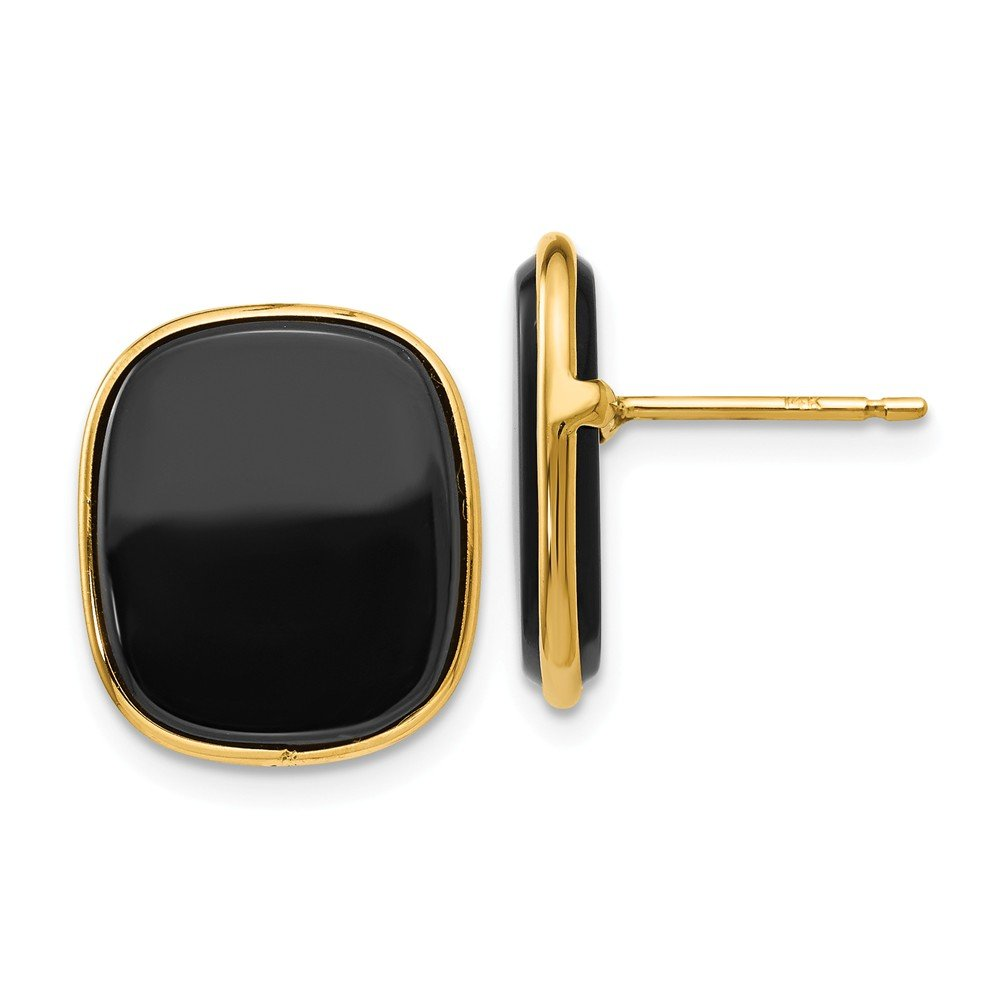 14k Yellow Gold Black Onyx Post Stud Earrings Ball Button Fine Jewelry Gifts For Women For Her by ICE CARATS