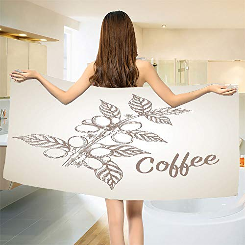 - smallbeefly Coffee Bath Towel Monochrome Sketch Branch with Leaves and Beans Agricultural Components Coffee Bathroom Towels Pale Tan Cocoa Size: W 27.5
