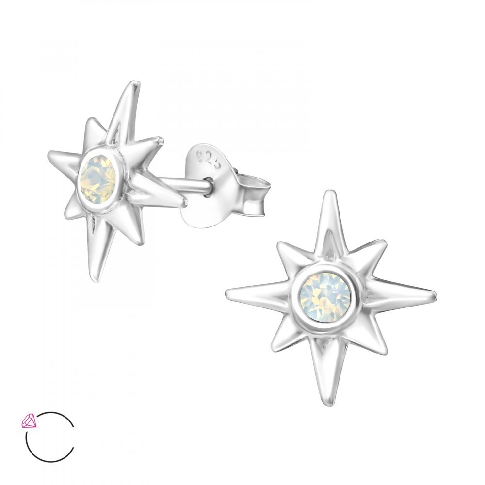 Sterling Silver Simulated White Opal Ishtar Star La Crystale Stud Earrings with Crystal