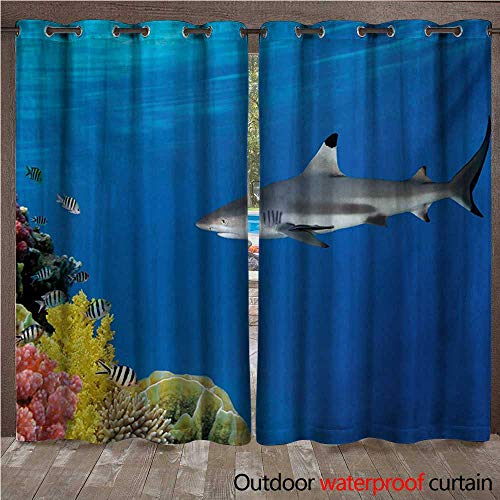- Shark Home Patio Outdoor Curtain Tropical Underwater World with Fishes Swimming and Coral Reef Serene Wildlife Picture W96 x L108(245cm x 274cm)