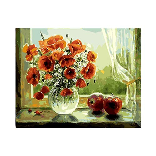 Flowers Oil Painting Picture by Numbers Hand Paint Drawing Coloring by Numbers DIY Drawing Flower Room Decoration Kitchen Decor ()