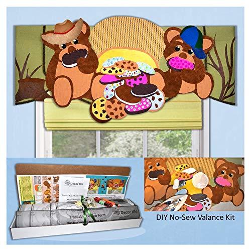 Decor Kid DIY Valance Kit. Includes Two No-Sew Teddy Bear Valance ()
