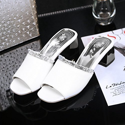 Toe Talon Talon Plate Blanc Sandales Bloc Robe Dentelle Peep Sandales Glisser Forme Moyen Wedges Mode Femmes Glitter 4qC1xwBYq