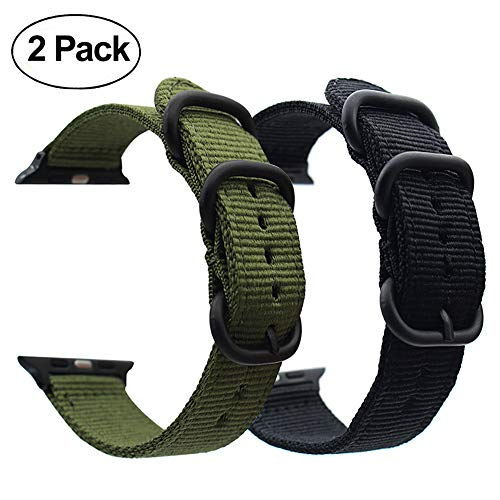 (For Apple Watch Band,ViCRiOR 42mm Woven Nylon NATO iWatch Band Replacement Strap with Adapters for Apple Watch 42mm Series 3, Series 2 and Series 1, (Army Green + Black) )