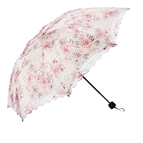 Honeystore Flower Print Vintage Parasol Anti-UV Folding Lace Embroidery Umbrella 3 Folding Beige ()