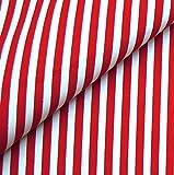 0,5m Streifen-Stoff 5mm rot/ weiß