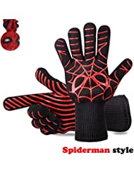 Panshi BBQ Gloves,932°F Heat Resistant Grilling Oven Glove,Kitchen Cooking Mitts with Forearm Protection,Non Slip Silicone Insulated Coating Grill Gloves,Spider Man Pattern(1 Pair)