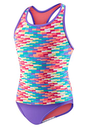 - Speedo Zig Zag Bars High Neck Tankini Twopiece, Multi, 7