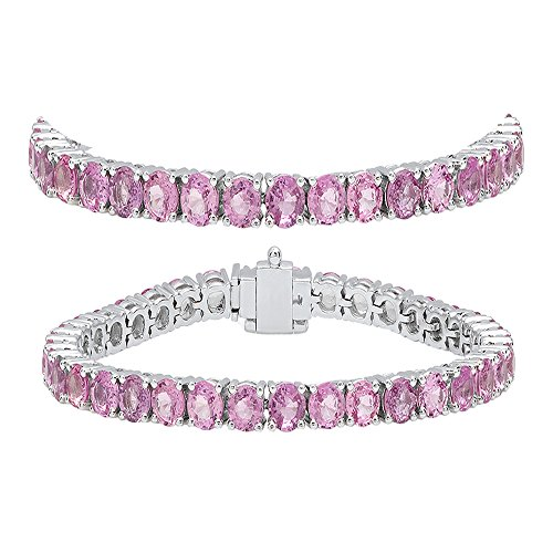 Dazzlingrock Collection 10.00 Carat (ctw) 14K Round Cut Real Pink Sapphire Ladies Tennis Bracelet 10 CT, White Gold ()