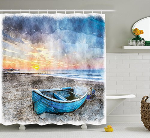 Beach Watercolor - Ambesonne Sunrise Shower Curtain by, Fishing Boat on Beach with Horizon on Backdrop Seashore Grunge Watercolor Print, Fabric Bathroom Decor Set with Hooks, 75 Inches Long, Blue Orange