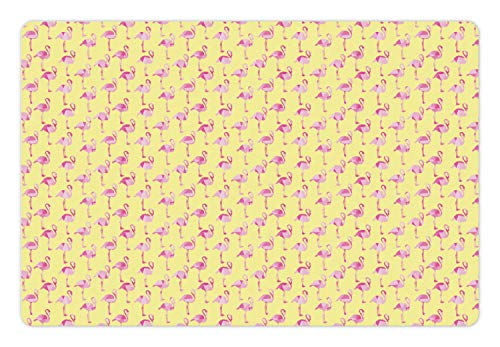 Lunarable Tropical Pet Mat for Food and Water, Low Poly Stylized Exotic Pink Flamingo Figures Mosaic Design, Rectangle Non-Slip Rubber Mat for Dogs and Cats, Pale Yellow Baby Pink and Pink