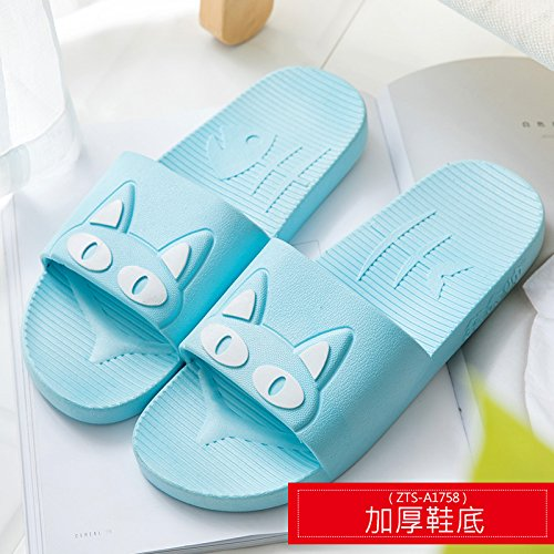 Summer Couples Bath Blue White Male Women 38 Lovely Cool 37 Bathroom Home Slippers Summer Cat with Indoor Cartoon Thick Slip Slippers Home Anti fankou 7vwRT1