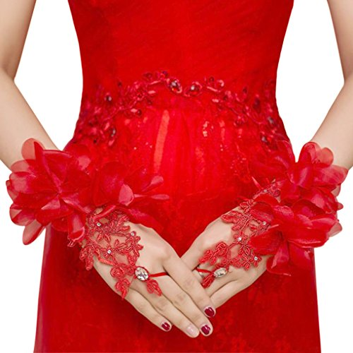 Floral Lace Short Wrist Gloves Applique Wedding Gloves Beaded Fingerless Bridal Gloves Party Costume Red