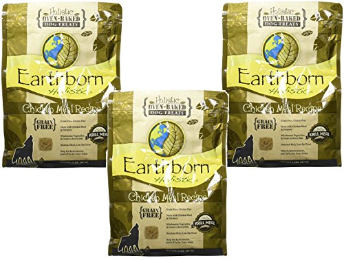 (3 Pack) Earthborn Holistic Chicken Meal Recipe Holistic Oven-baked Dog Treats - 2 Pound Bags ()