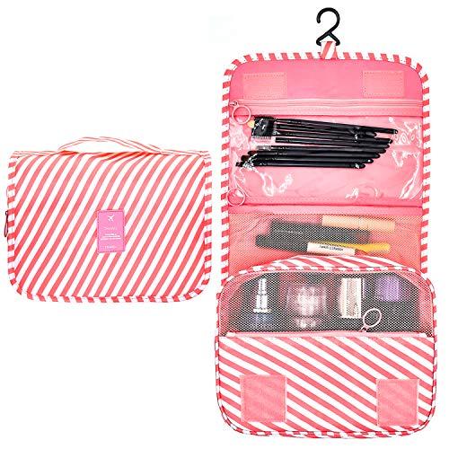 Toiletry Travel Bag Large Capacity Waterproof Shower Bag Ladies Beauty Bag Pink Stripeds