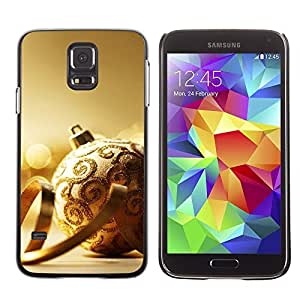 YOYO Slim PC / Aluminium Case Cover Armor Shell Portection //Christmas Holiday Gold Decoration Ball 1101 //Samsung Galaxy S5