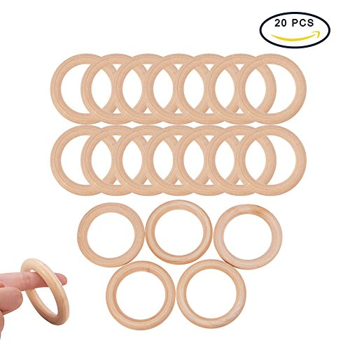 Pandahall Elite 20 PCS 70mm Wood Rings Wooden Rings Circles for DIY Pendant Connectors Jewelry Making