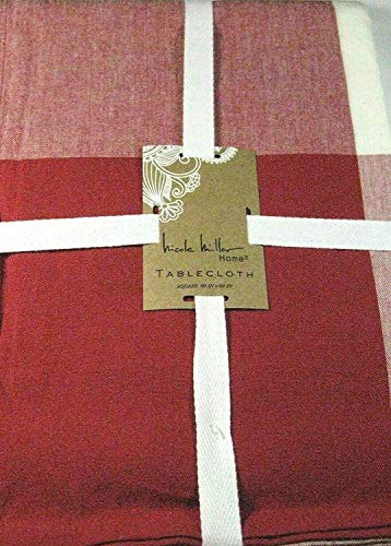 Nicole Miller Home Large Red and Off White Check Fabric Tablecloth 100% Cotton 60 x 108 Oblong (60 x 108 Oblong)