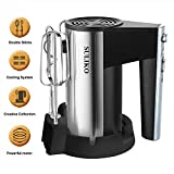 Hand Mixer, Suliko Stainless Steel Mixer Electric 200W 5 Different Speed Settings and Turbo Button with Sturdy Beaters and Dough Hooks, Silver【1 Year Warranty】