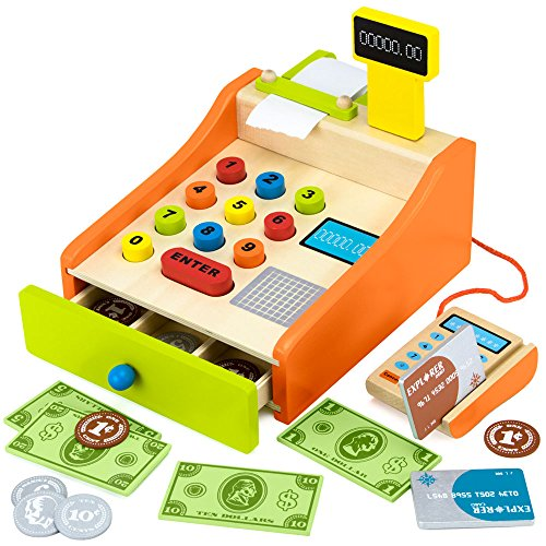 Wood Eats! Change & Charge Cash Register with Wooden Coins, Bills, and Credit Cards (22pcs.) by Imagination Generation (Register Credit)