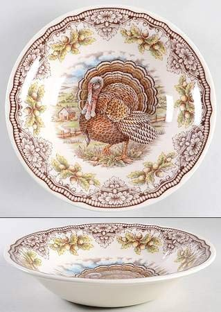 Victorian Victorian English Pottery Turkey Thanksgiving Soup-Cereal-Salad 7-3/4