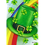 Toland Home Garden 1012279 Leprechaun Hat 28 x 40 Inch Decorative, Spring Saint Patrick's Clover Rainbow Tophat, House Flag