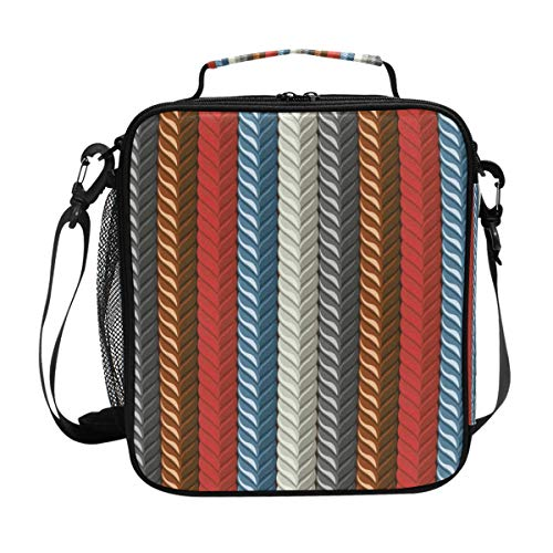 (Colorful Rope Pattern Vertical Stripe Lunch Bag Insulated Lunch Box Cooler Shoulder Strap Meal Prep for Women Men Boy Girl Large Tote Bag Office School)