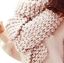 Winter Thicken Warm Ring Scarf Lic Women Solid Shawl Neck Wrap 2018 New Fashion Unisex Knitted Pink 195x32cm